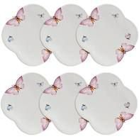 Conjunto de 6 Pratos Sobremesa Porcelana Borboletas 19cm Wolff