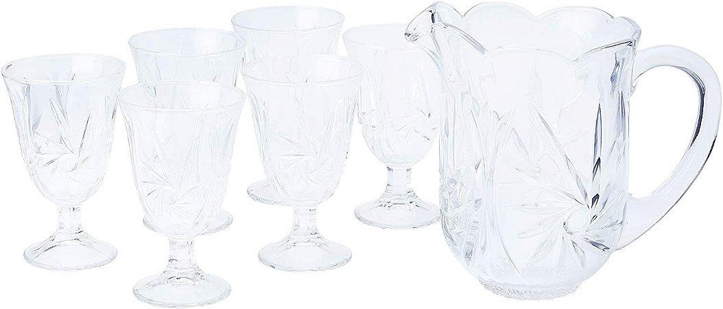Conjunto de Jarra e 6 Taças Cristal  Agua  1,5l 240ml Lyor