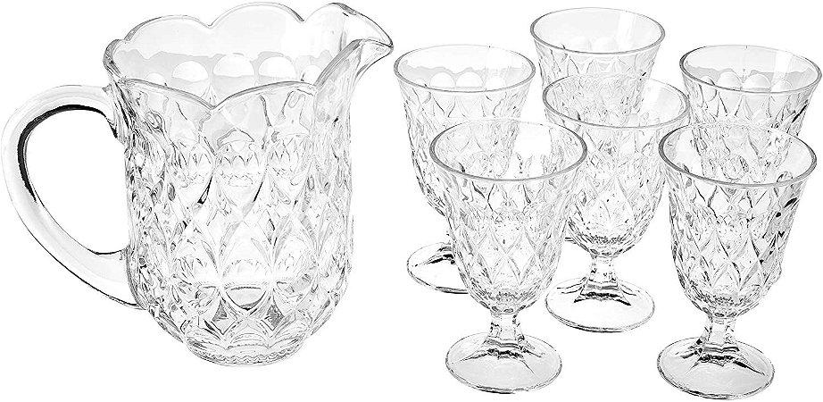 Conjunto de Jarra  e  6 Taças de Cristal Agua Lille 1,5l 240ml Lyor