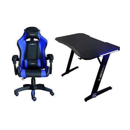Kit Gamer Cadeira Comfort e Mesa Com Led Azul