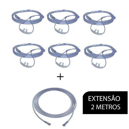 Extensão De Oxigênio - 2 Metros + 6 Cateteres Nasal de Silicone Tipo Óculos