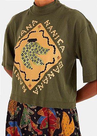 Blusa Malha Farm T-shirt Gola Cropped Silk Banana - 297052