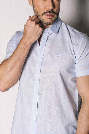 Camisa Manga Curta Slim linho flamê azul