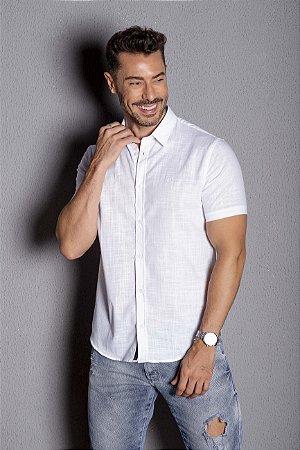 Camisa Manga Curta Slim linho flamê branco