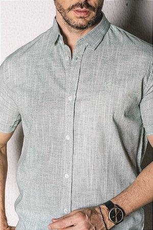 Camisa Manga Curta Slim linho fio tinto verde