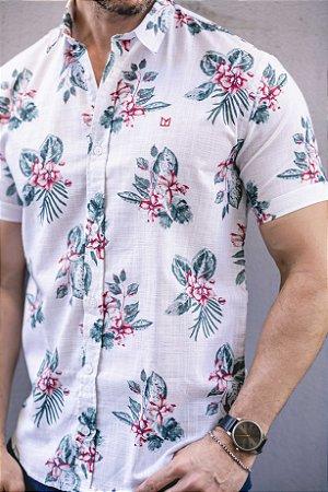 Camisa Manga Curta Slim estampada no linho flamê branca