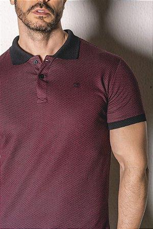 Camisa Gola Polo detalhes marsala