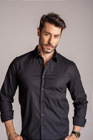 Camisa Manga Longa Slim algodão com elastano
