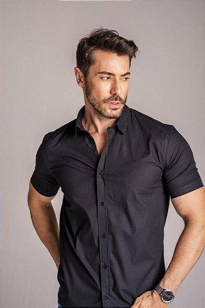 Camisa de Manga Curta Algodão com Elastano