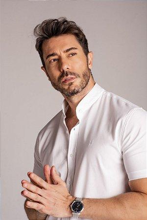 Camisa Gola Padre Manga Curta Branca