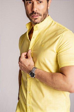 Camisa Gola Padre Manga Curta Amarelo linho flamê