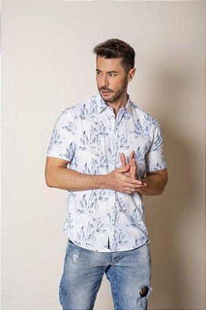 Camisa de Manga Curta Branca Estampada