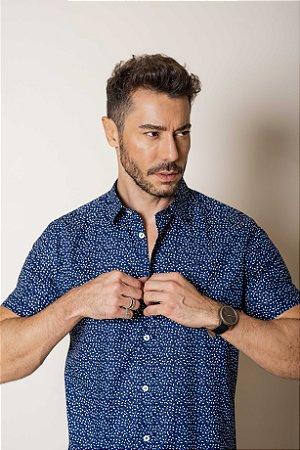 Camisa de Manga Curta Azul micro estampa
