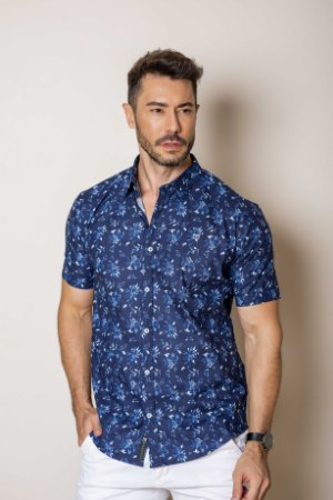 Camisa de Manga Curta Azul estampada