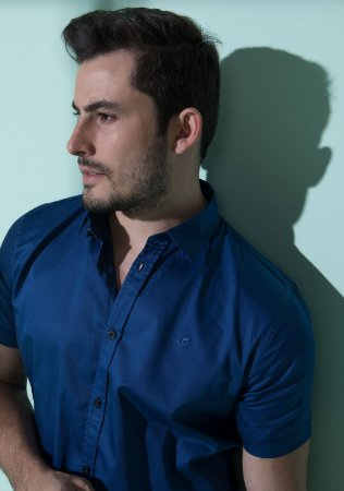 Camisa de Manga Curta Azul noite Acetinada