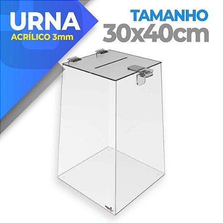 Urna Em Acrílico 3mm - Tamanho 30 X 30 X 40cm