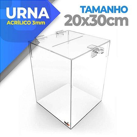 Urna Em Acrílico 3mm - Tamanho 20 X 20 X 30cm