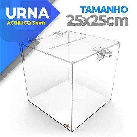 Urna Em Acrílico 3mm - Tamanho 25 X 25 X 25cm