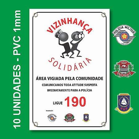 Placa VIZINHAÇA SOLIDARIA 10 Unidades - São Paulo, Conseg E Pm - Pvc 1mm - 20x30cm