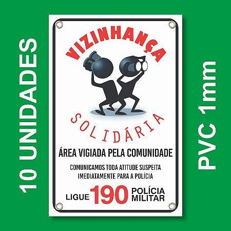 Placa VIZINHAÇA SOLIDARIA 10 Unidades - Pvc 1mm - 20x30cm