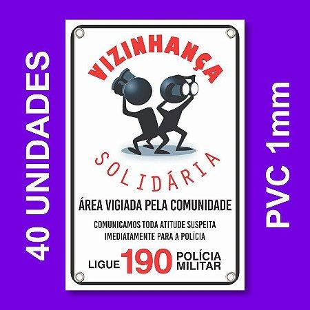 Placa VIZINHAÇA SOLIDARIA 40 Unidades - Pvc 1mm - 20x30cm