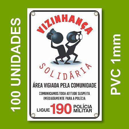 Placa VIZINHAÇA SOLIDARIA 100 Unidades - Pvc 1mm - 20x30cm