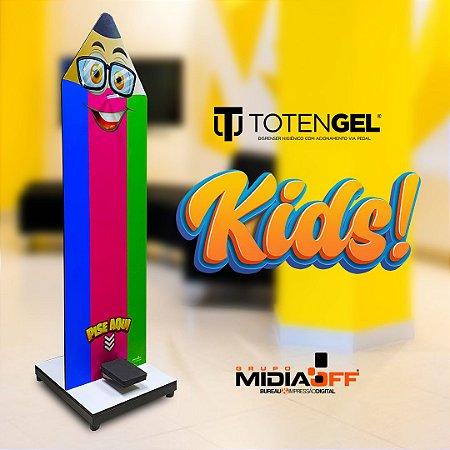 Totem Álcool Gel Display Suporte C/ Pedal Kids Escolar Infantil