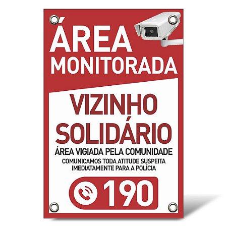 Placa Vizinho Solidário - Pvc 1mm - 20x30cm