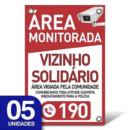 Placa Vizinho Solidário - Pvc 1mm - 05 Unidades - 20x30cm