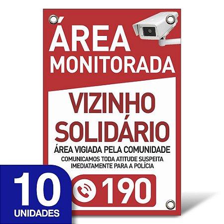 Placa Vizinho Solidário - Pvc 1mm - 10 Unidades - 20x30cm