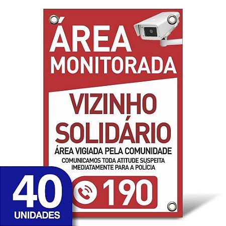 Placa Vizinho Solidário - Pvc 1mm - 40 Unidades - 20x30cm