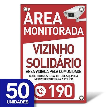 Placa Vizinho Solidário - Pvc 1mm - 50 Unidades - 20x30cm