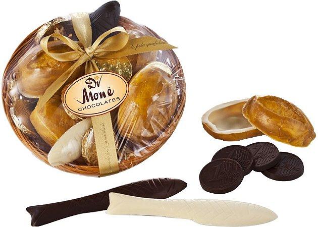 CESTA PROSPERIDADE (pão, moedas e peixes de chocolate) 180g