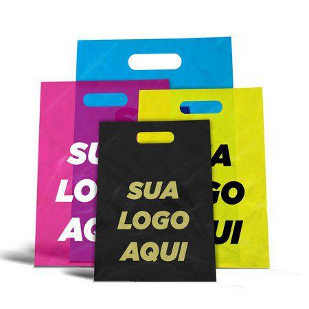 Sacola Plástica Personalizada Boca Vazada 15x25x0,08