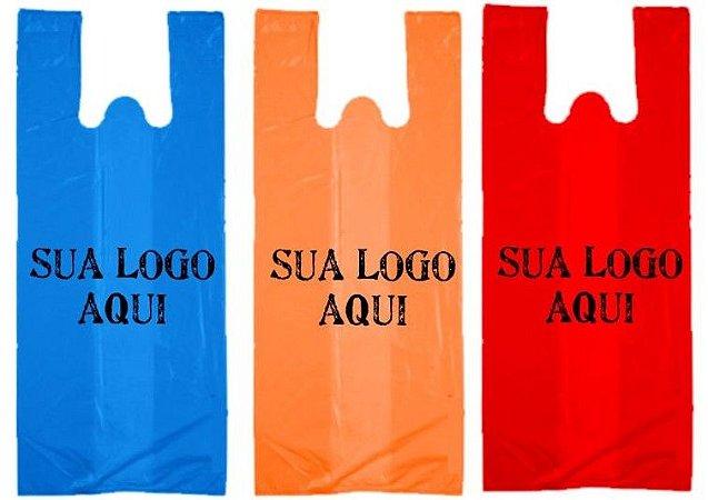 Sacola Plástica Personalizada Alça Camiseta 43x54x0,05