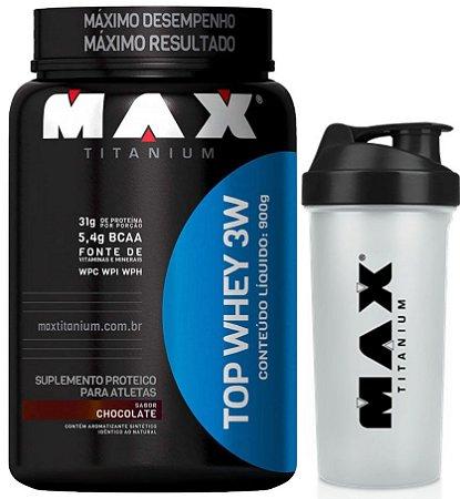 TOP WHEY 3W 900 GRAMAS - MAX TITANIUM (COMPROU E GANHOU)