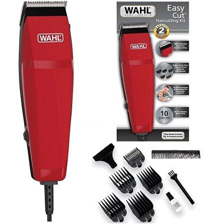 Máquina de Cortar Cabelo e Barba Wahl Easy Cut  - com 9 Acessórios - Lâminas Autoafiáveis - Vermelho