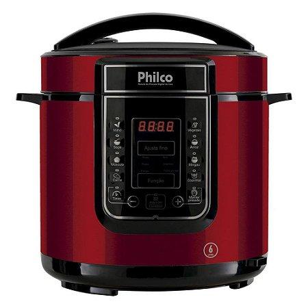 Panela de Pressão Elétrica Inox Philco 6 Litros - Painel Digital com Timer e 14 Funções - 1000W - Vermelho - PPPV01
