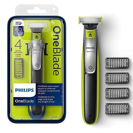 Barbeador Elétrico Philips Oneblade QP2530 - À Prova D'água - com 4 Pentes + 1 Lâmina - uso Seco ou Molhado