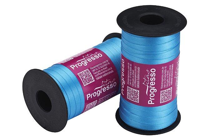Fita Cetim Progresso N° 1 (07mm) Cor 1390 Azul Médio Face Simples 100 metros
