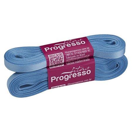 Fita Cetim Progresso N° 1 (07mm) Cor 246 Azul Celeste Face Simples 10 metros
