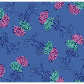 Tecido 100% Algodão Arvore da Vida Azul 1,40m x 50cm - Caldeira