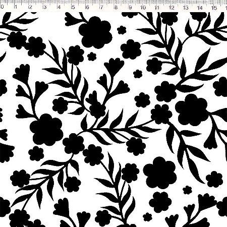 Tecido 100% Algodão Flor Preto/Branco 1,48m x 50cm - Fernado Maluhy