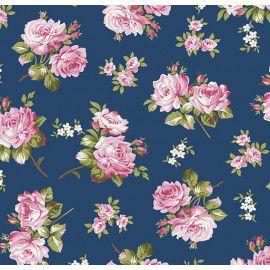 Tecido 100% Algodão Flor Jasmine Azul 1,40m x 50cm - Caldeira