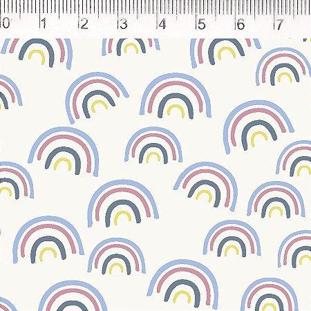 Tecido 100% Algodão Arco Iris Branco Pequeno 1,48m x 50cm - Fernando Maluhy