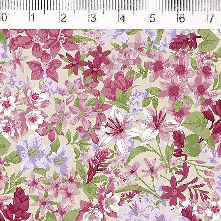 Tecido 100% Algodão Flor Branco 1,48m x 50cm - Fernando Maluhy