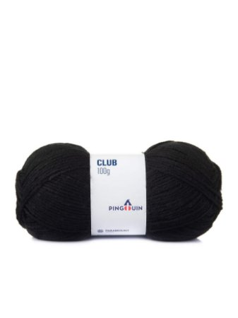Lã Club 100grs  cor 0100 Preto Pingouin