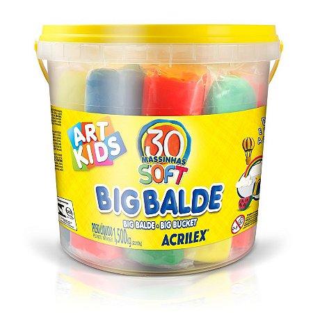 Big Balde Massinha 1,5Kg com 30 Massinhas 40023 Acrilex