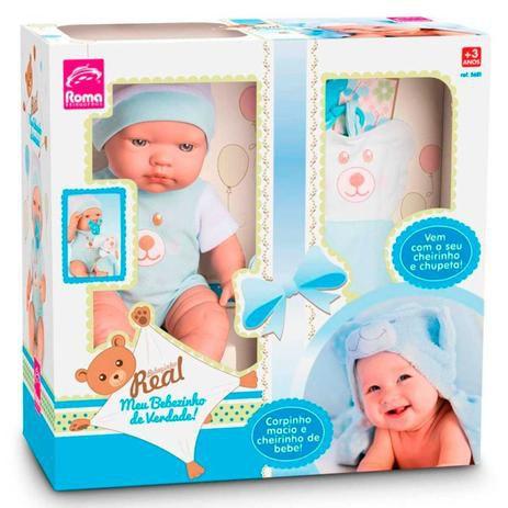 Boneca Bebezinho Real Azul 5681 - Roma