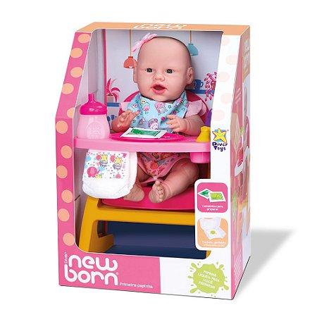 Boneca New Born Primeira Papinha  8113 - Divertoys